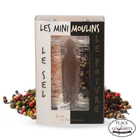 Duo minis moulins sel de l'Himalaya et mélange 4 poivres et baies Jean d'Audignac