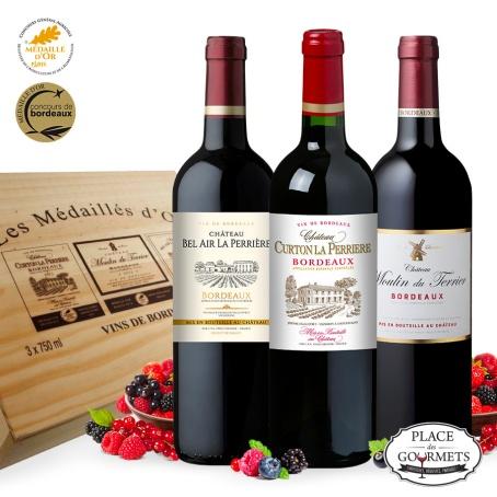 """Caisse bois 3 vins """"Les médailles d'or"""""""