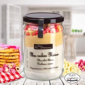 Kit de préparation pour cookies chocolat blanc et pralines roses